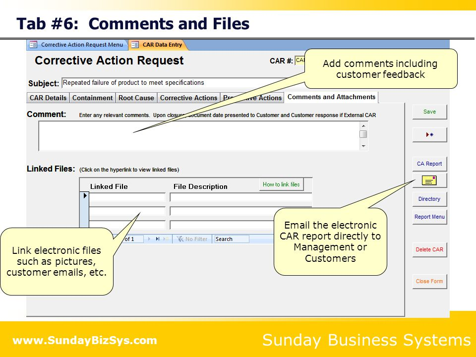Tab #6: Comments and Files
