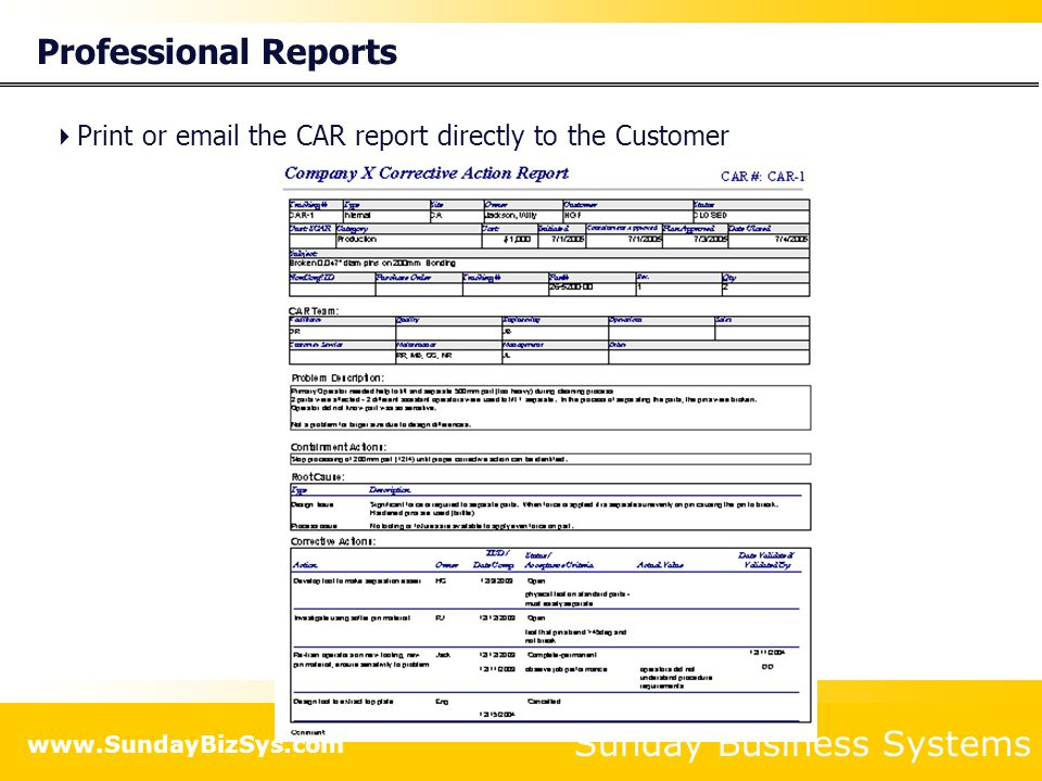 Professional Reports Print or email the CAR report directly to the Customer