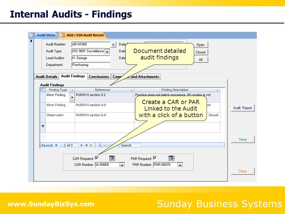 Internal Audits - Findings