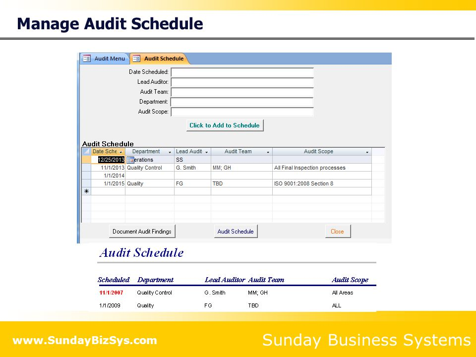 Manage Audit Schedule