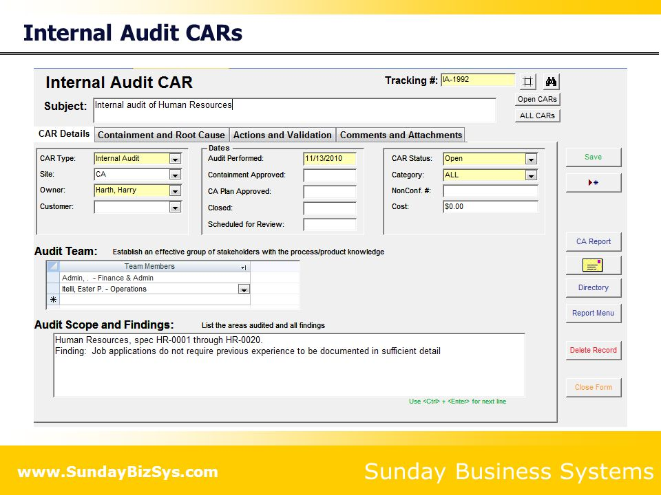 Internal Audit CARs
