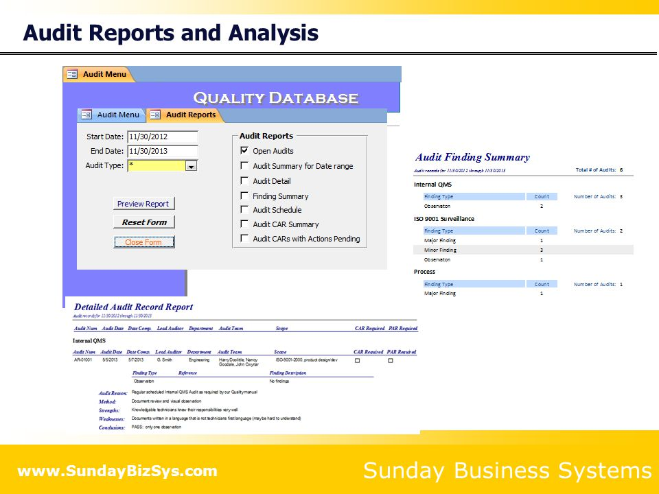 Audit Reports and Analysis