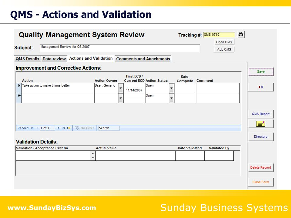 QMS - Actions and Validation