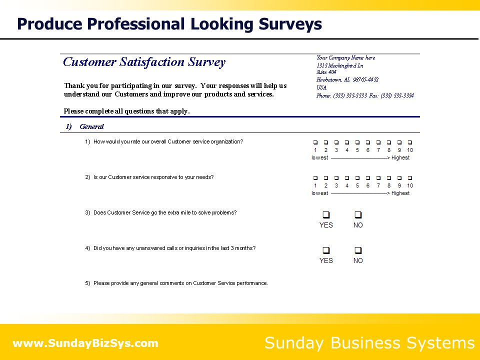 Produce Professional Looking Surveys