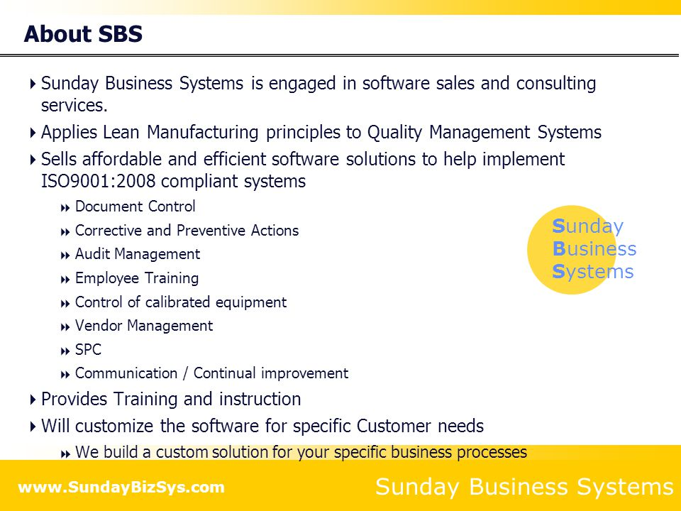 About SBS Sunday Business Systems