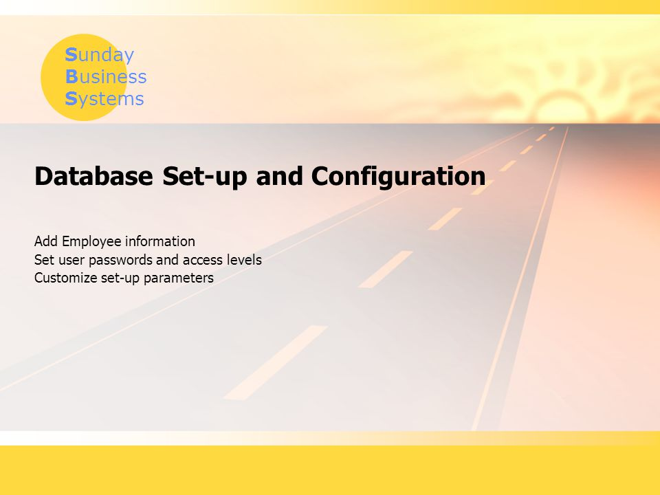 Database Set-up and Configuration