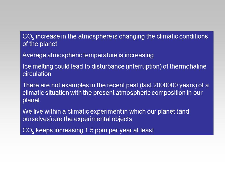 CO2 increase in the atmosphere is changing the climatic conditions of the planet