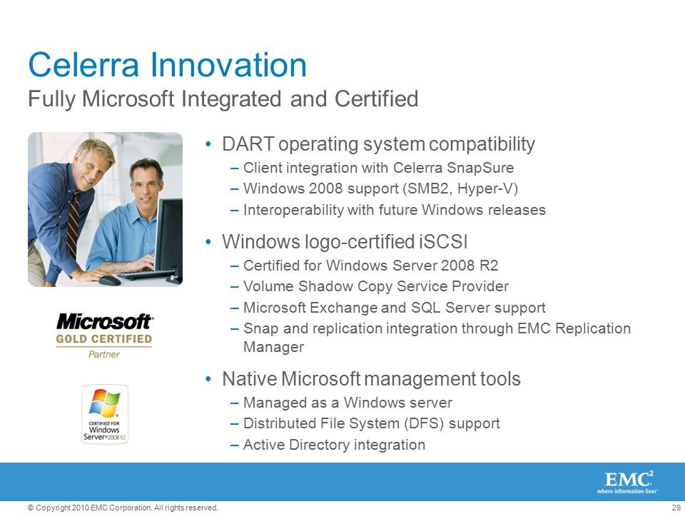 Celerra Innovation Fully Microsoft Integrated and Certified