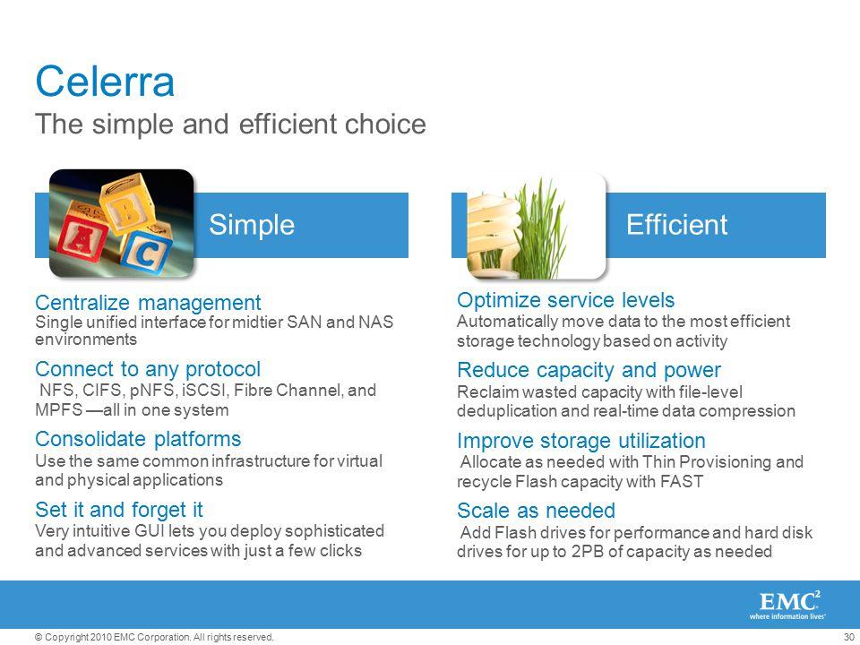 Celerra The simple and efficient choice Simple Efficient