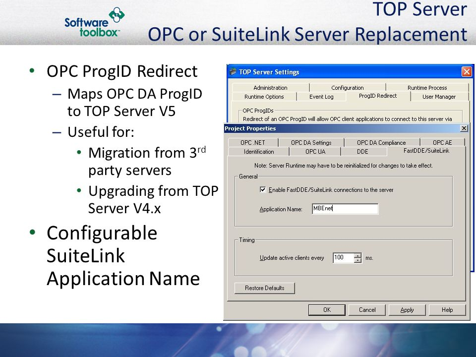 TOP Server OPC or SuiteLink Server Replacement