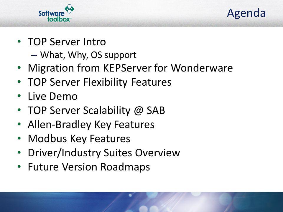 Agenda TOP Server Intro Migration from KEPServer for Wonderware