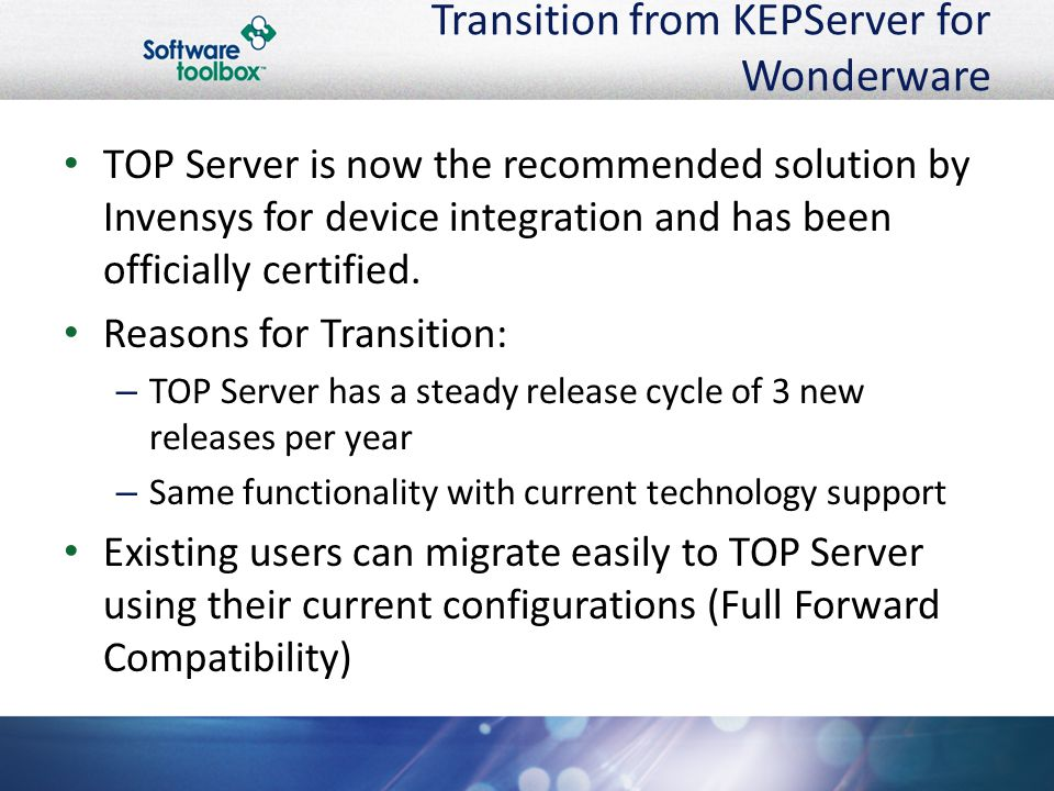 Transition from KEPServer for Wonderware