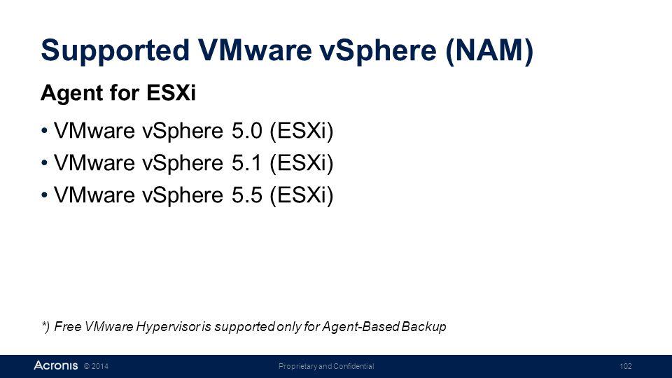 Supported VMware vSphere (NAM)