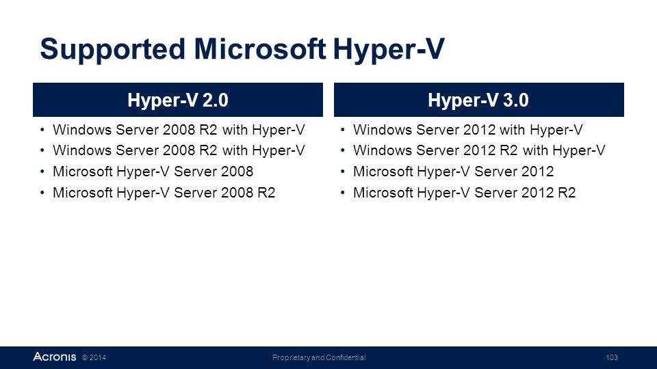 Supported Microsoft Hyper-V