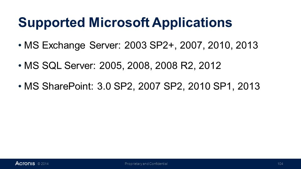 Supported Microsoft Applications