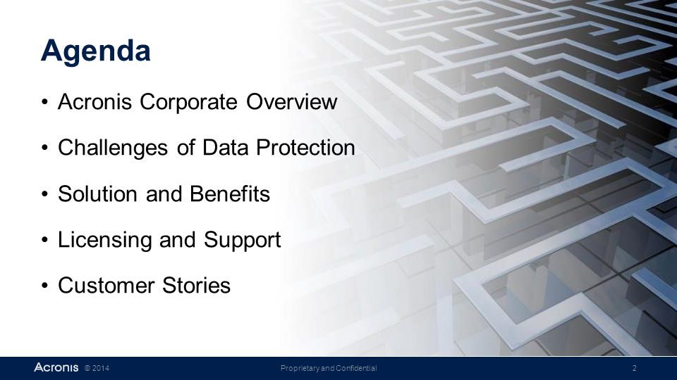 Agenda Acronis Corporate Overview Challenges of Data Protection
