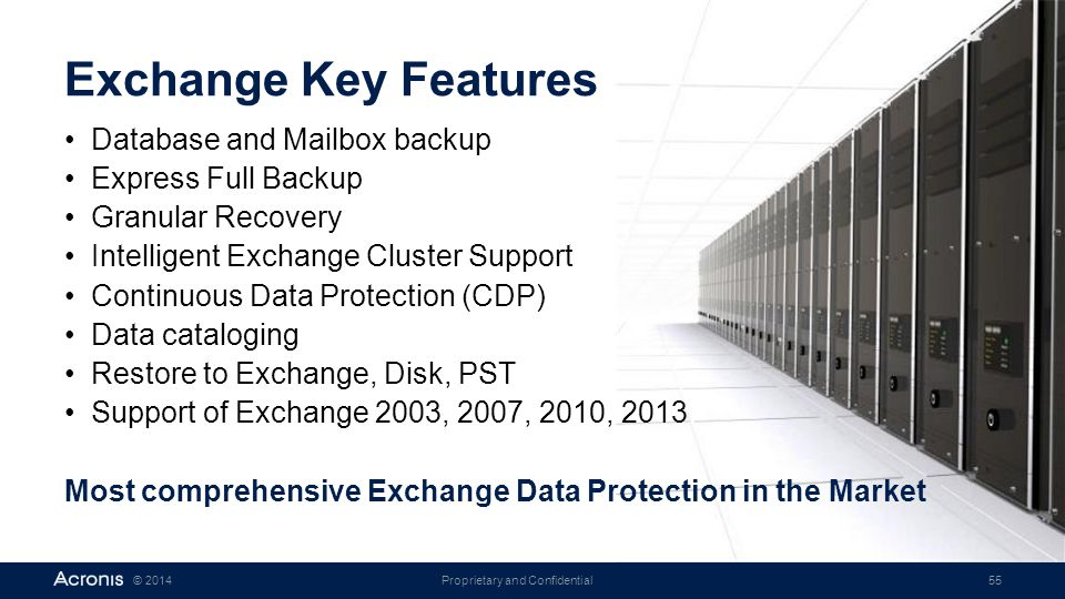 Exchange Key Features Database and Mailbox backup Express Full Backup