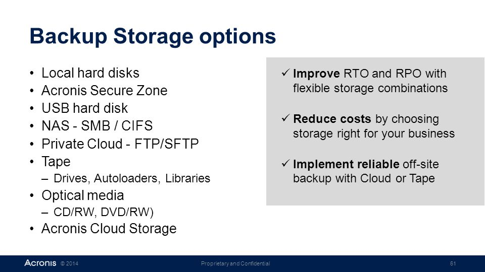 Backup Storage options