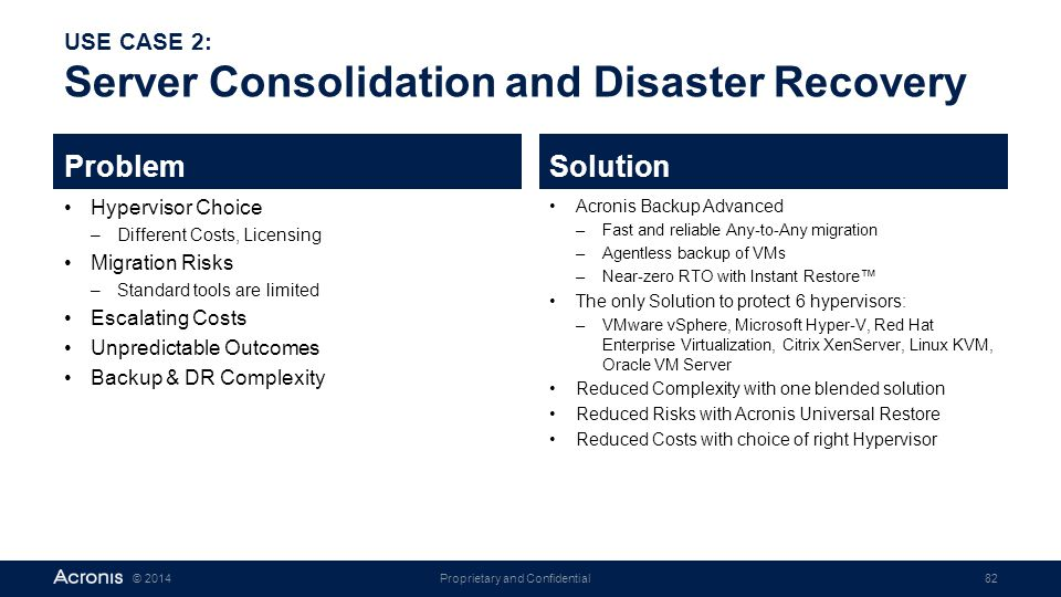 USE CASE 2: Server Consolidation and Disaster Recovery