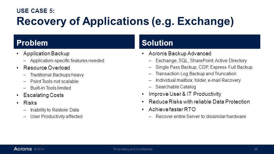 USE CASE 5: Recovery of Applications (e.g. Exchange)