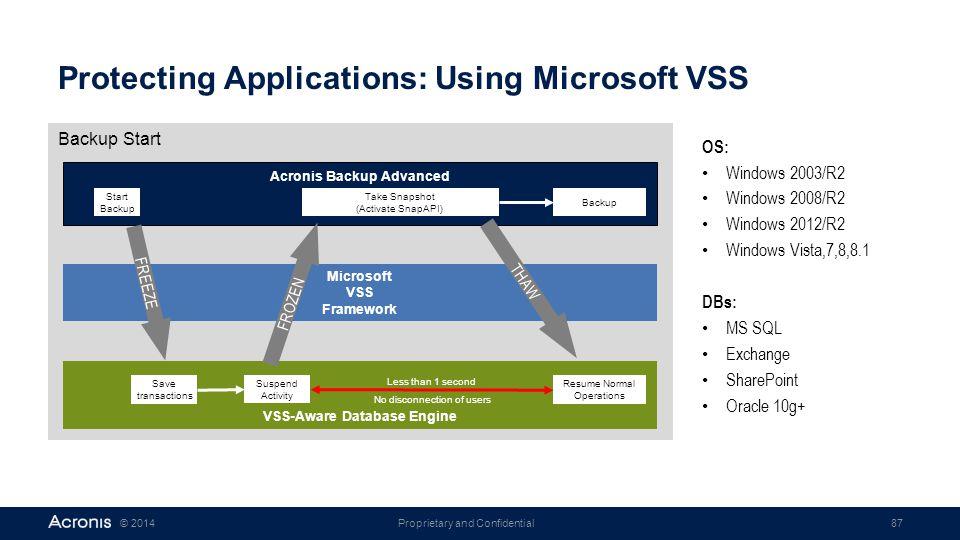 Protecting Applications: Using Microsoft VSS