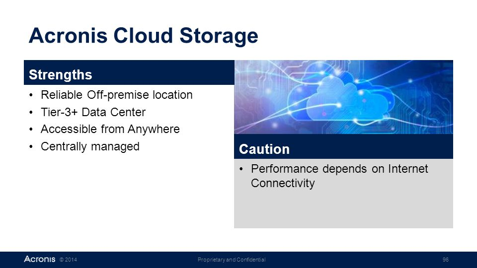Acronis Cloud Storage Strengths Caution Reliable Off-premise location