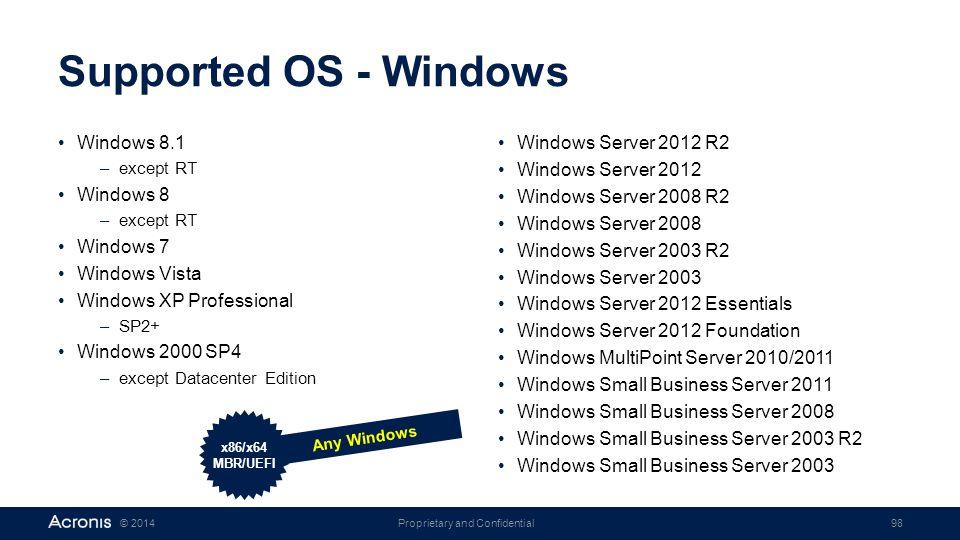 Supported OS - Windows Windows 8.1 Windows 8 Windows 7 Windows Vista