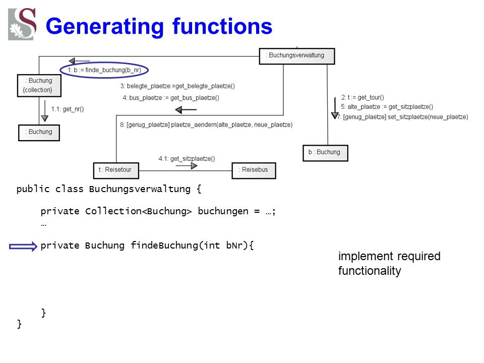 Generating functions implement required functionality