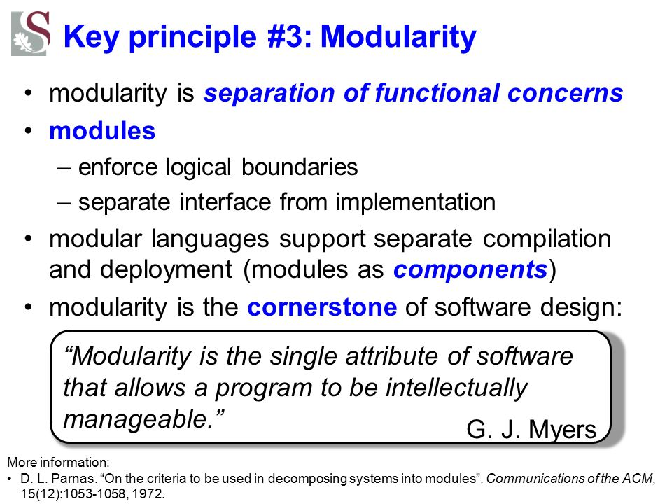 Key principle #3: Modularity