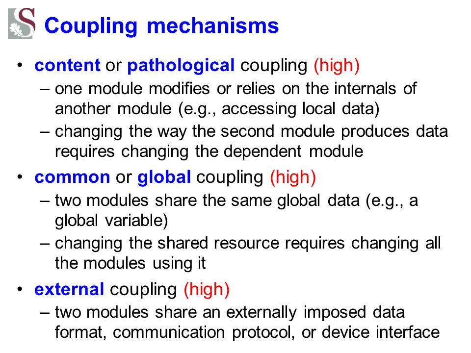 Coupling mechanisms content or pathological coupling (high)