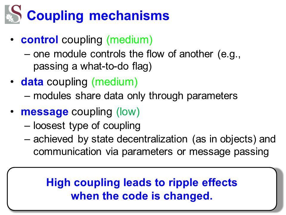 High coupling leads to ripple effects when the code is changed.