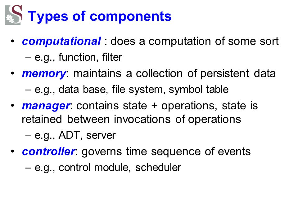 Types of components computational : does a computation of some sort