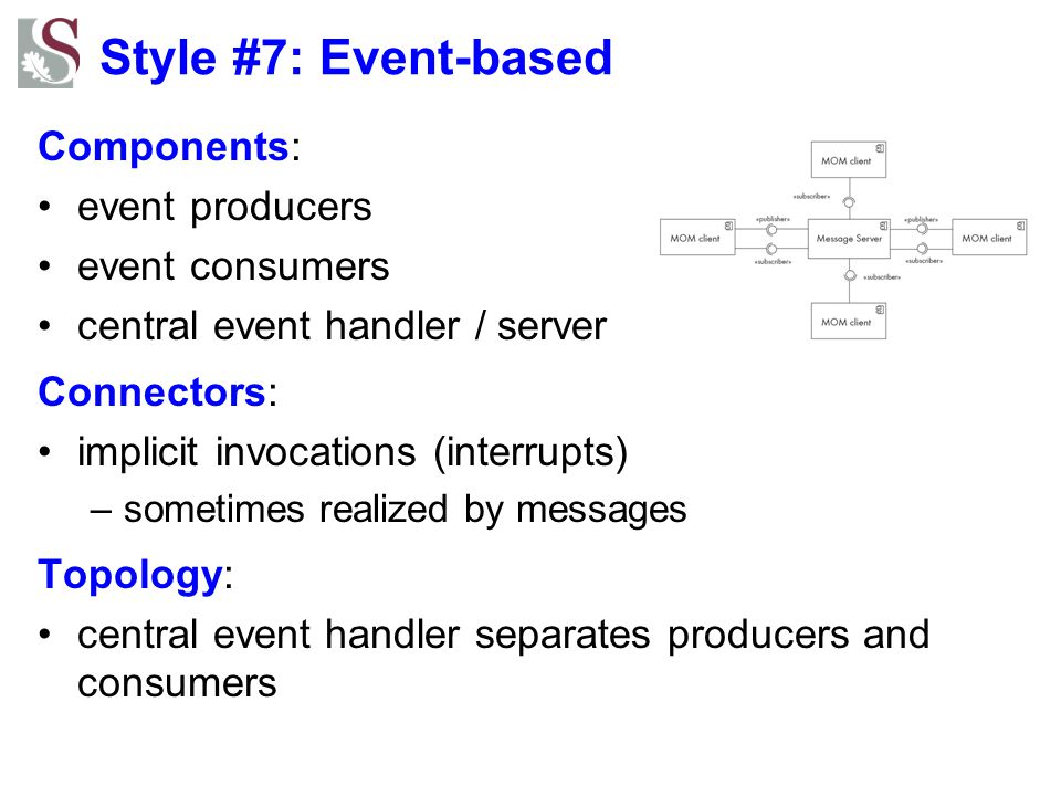Style #7: Event-based Components: event producers event consumers