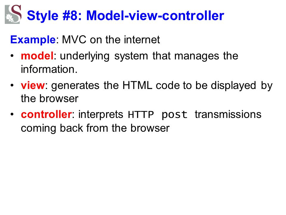 Style #8: Model-view-controller
