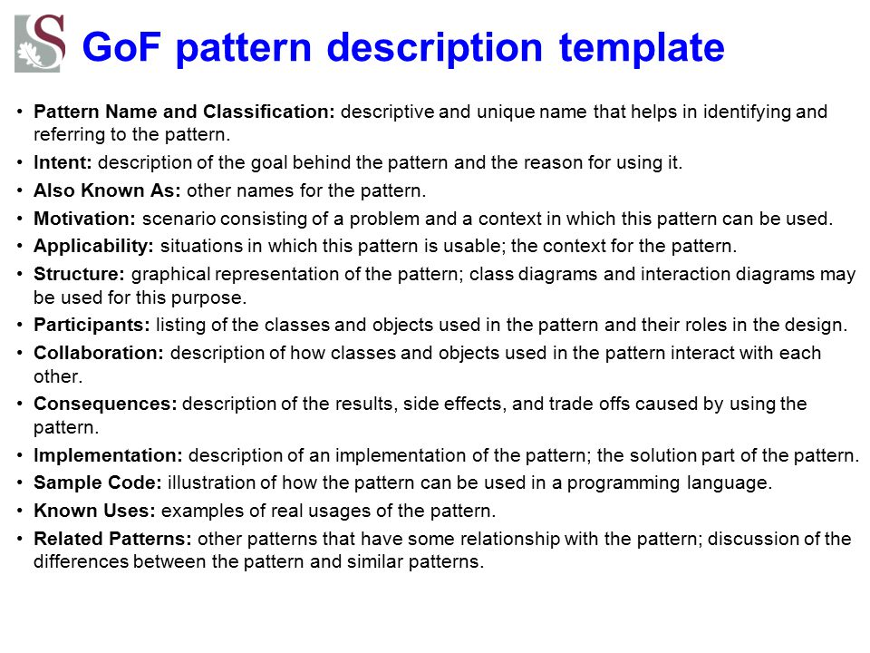 GoF pattern description template