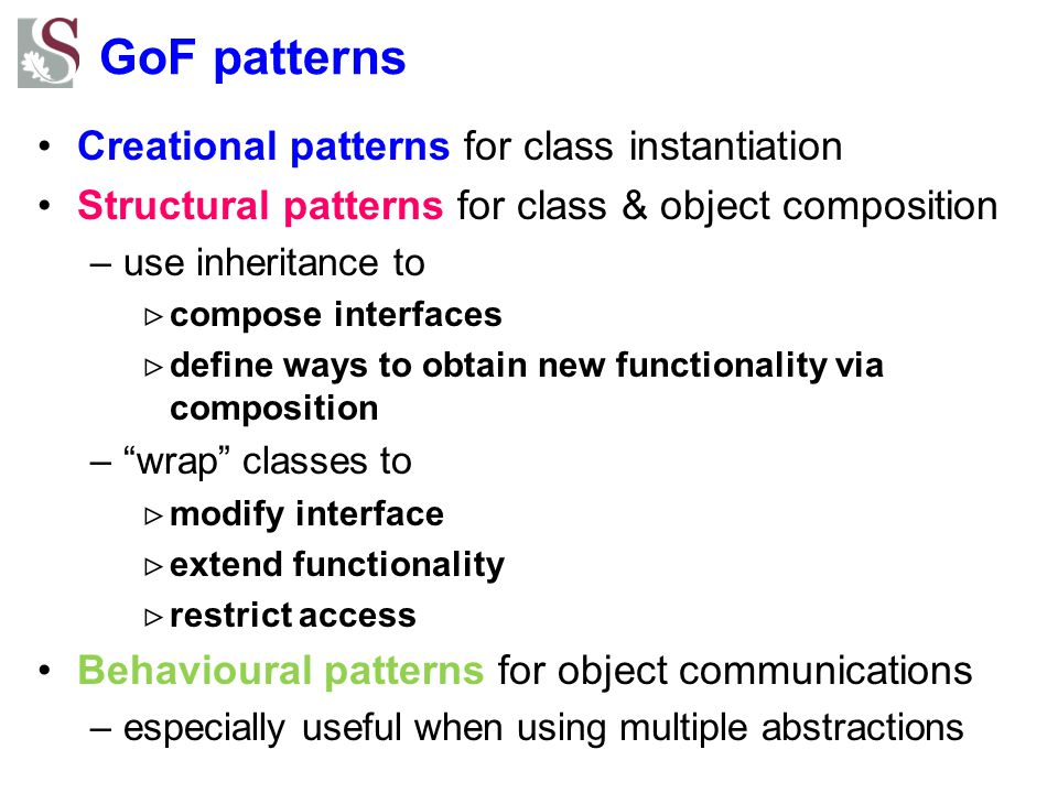 GoF patterns Creational patterns for class instantiation
