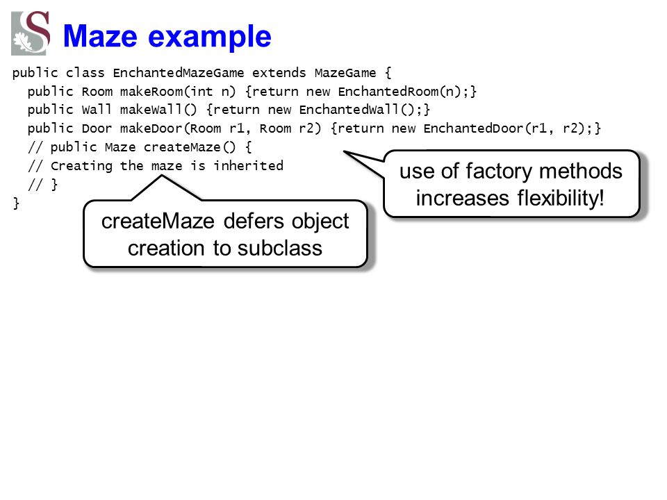 Maze example use of factory methods increases flexibility!