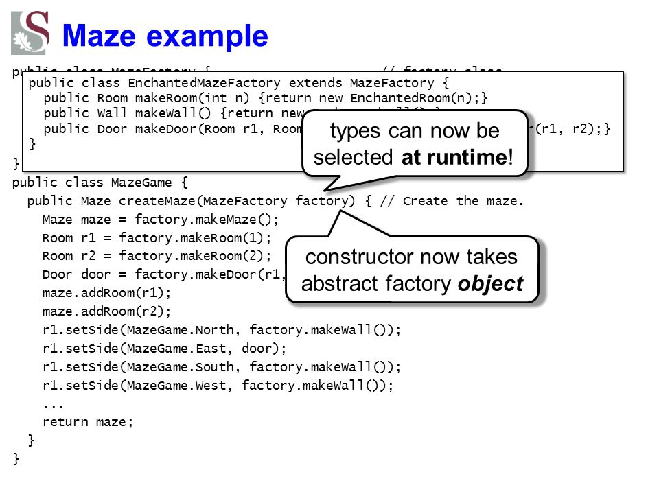 Maze example types can now be selected at runtime!