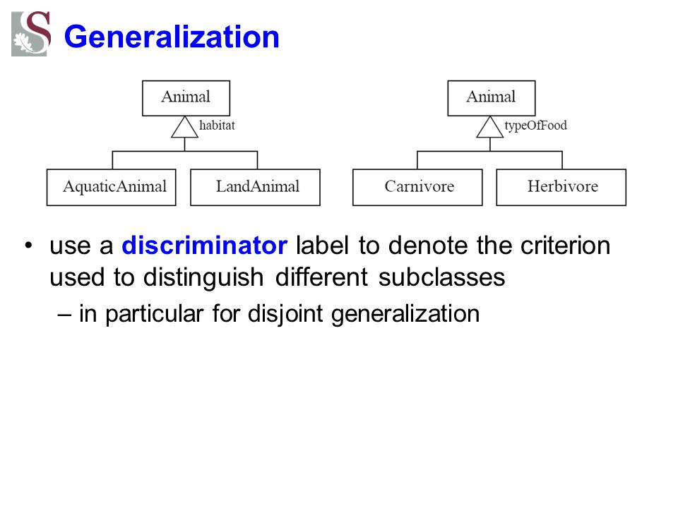 Generalization use a discriminator label to denote the criterion used to distinguish different subclasses.