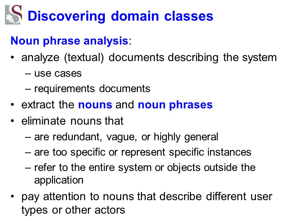 Discovering domain classes