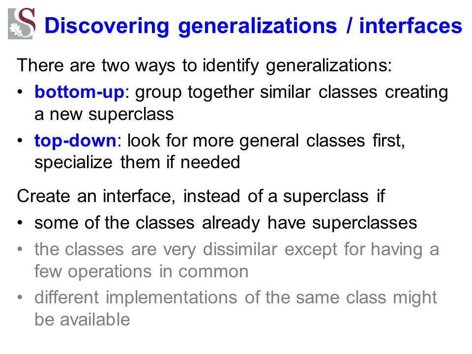 Discovering generalizations / interfaces
