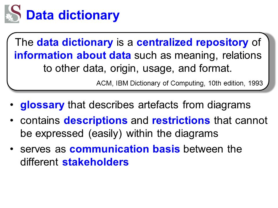 Data dictionary glossary that describes artefacts from diagrams.