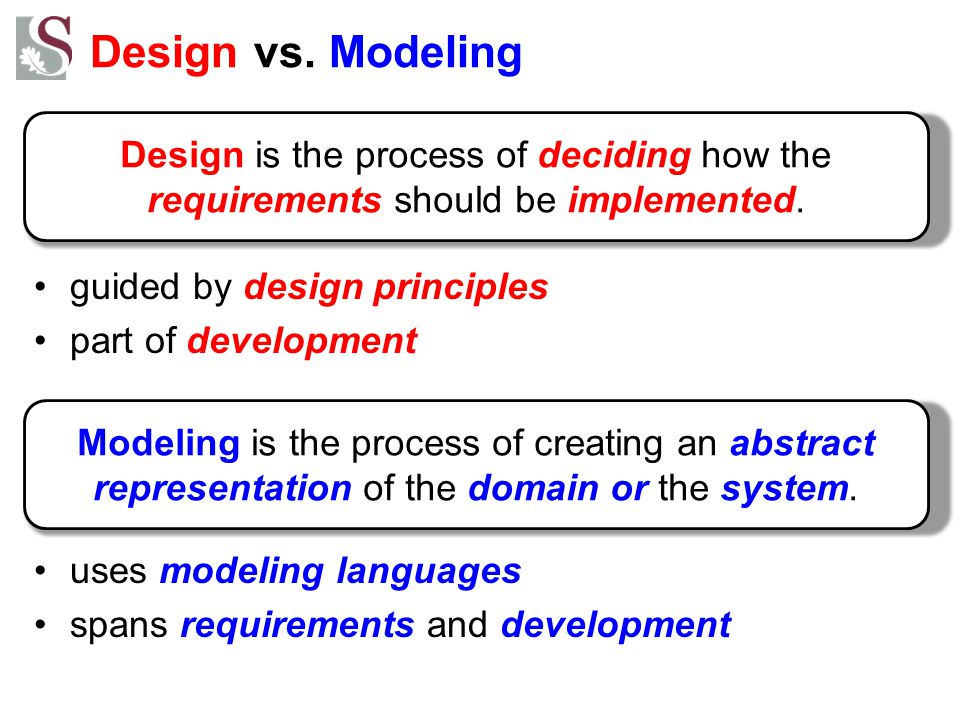 Design vs. Modeling guided by design principles. part of development. uses modeling languages. spans requirements and development.