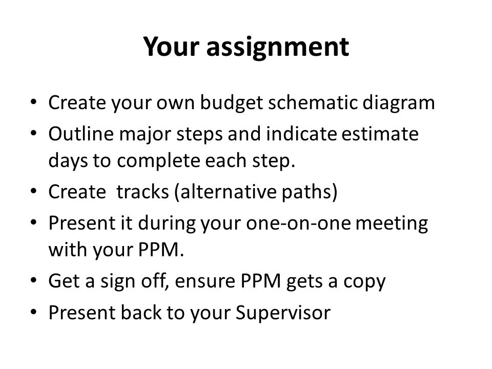 Your assignment Create your own budget schematic diagram