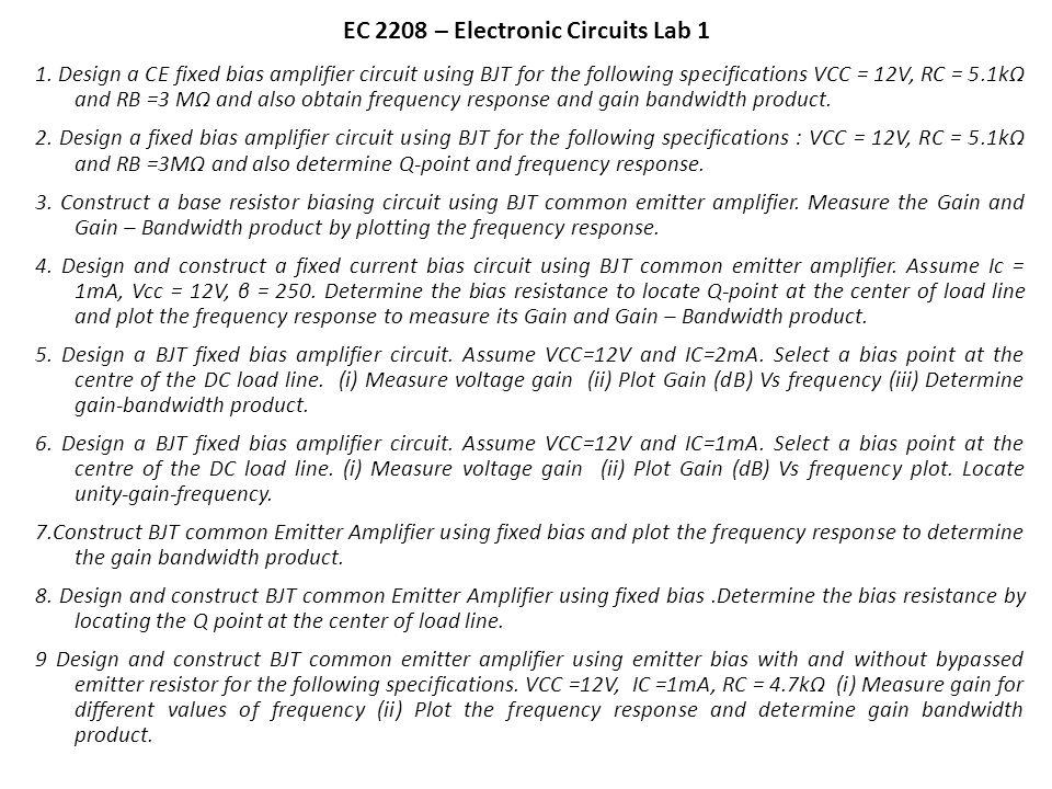 EC 2208 – Electronic Circuits Lab 1