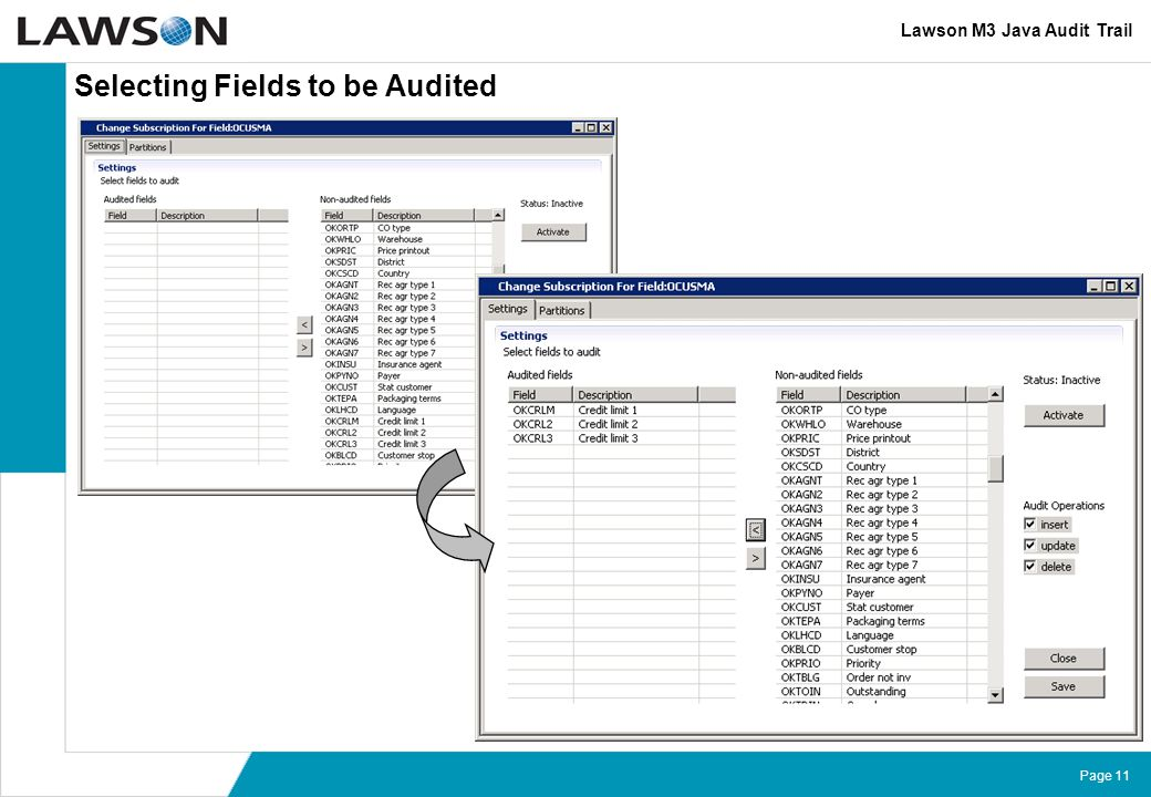 Selecting Fields to be Audited