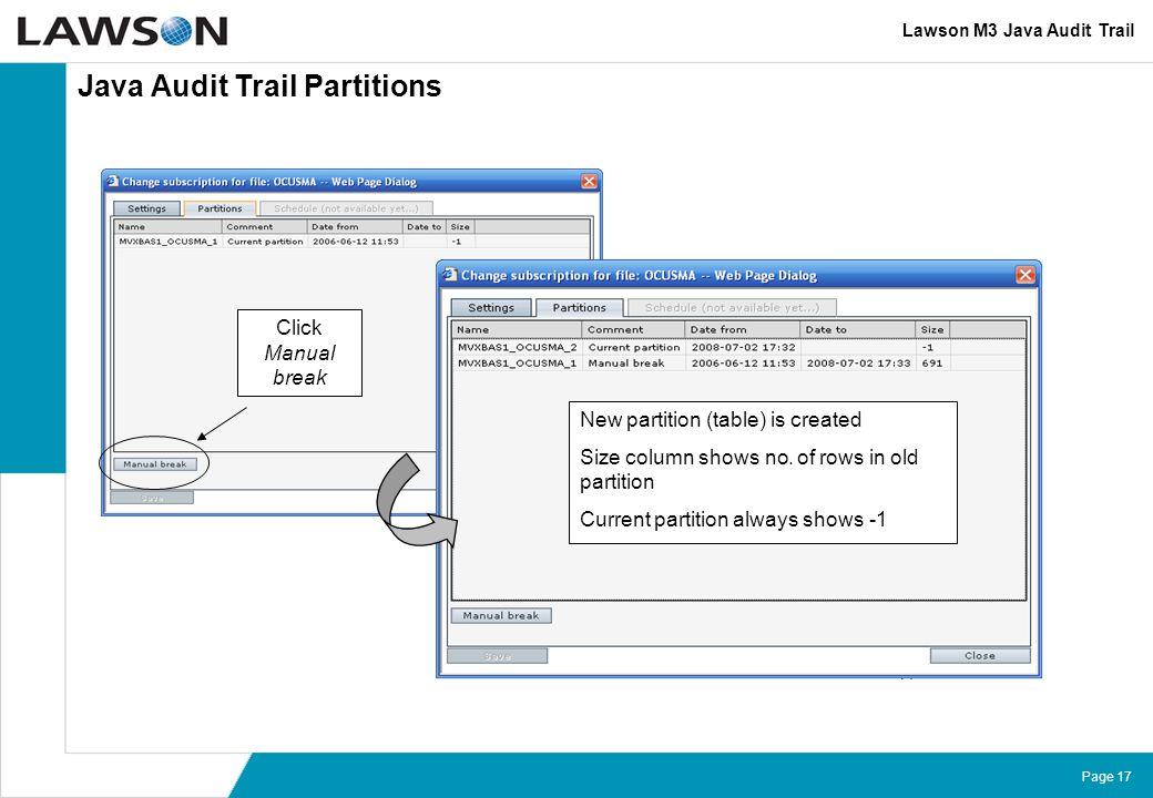 Java Audit Trail Partitions