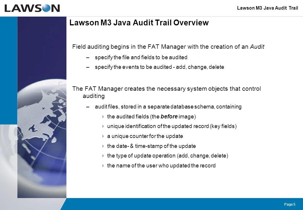 Lawson M3 Java Audit Trail Overview
