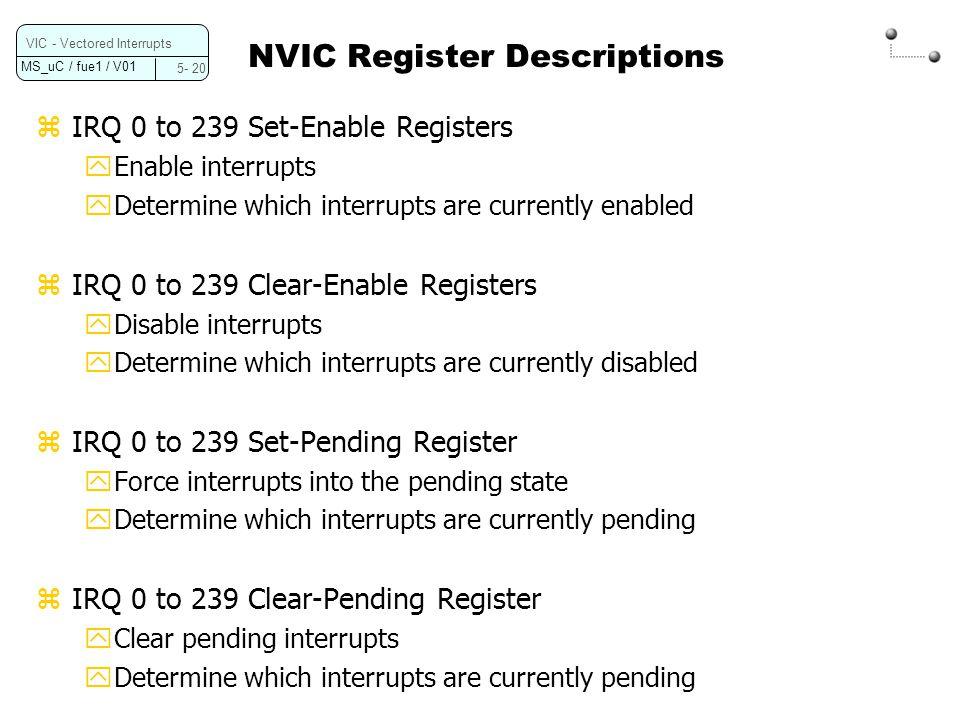 NVIC Register Descriptions