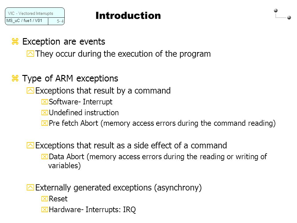 Introduction Exception are events Type of ARM exceptions